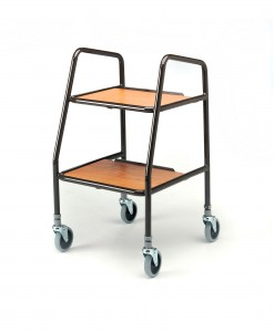 Adjustable Height Trolley With Wooden Trays